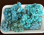 70 Beautiful shabby chic  Aqua colored mulberry paper flowers and roses plus reusable plastic case