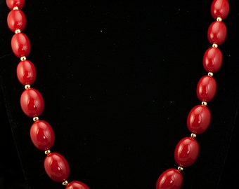 Monet Necklace  Red and Gold Graduated Bead Vintage Necklace
