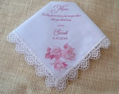 Mother of the bride gift, personalized wedding handkerchief, soft pink roses print, lace handkerchief
