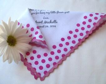 Personalized wedding favor, pink polka dots handkerchief, flower girl wedding favor, wedding gift to niece, custom poem handkerchief