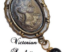 SALE Victorian Steampunk Inspired Small Brooch Gold Brown Cameo Victorian Lady and Handmade Glass Dangle AA049