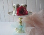 Vintage Pink Blue Floral Dessert/Cupcake Stand and Salt & Pepper Shakers - Shabby Sweet
