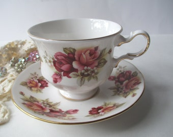 Queen Anne Teacup and Saucer English Bone China Peach Rose - Vintage Charm