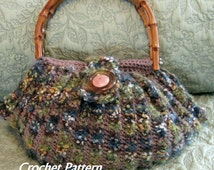 Crochet Purse Pattern Fat Bottom Bag With Tab Button Trim Easy To Make Instant Download