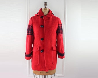 Nordic Flakes - vintage 1960s Red & Black Wool Toggle Coat with detachable Hood - size extra small to small, xs/s
