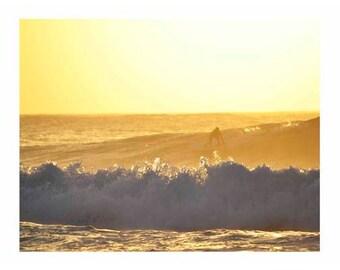 Photography Film Rincon Puerto Rico Beach Surf Yellow Surfer Sunset Retro Surf Art Print 8x10