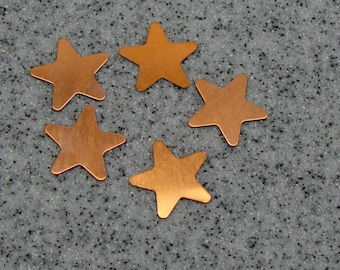 20mm Copper 5-Point Star 24 Gauge  Pack of 5