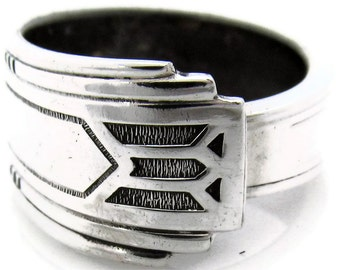 Silver Art Deco Spoon Ring Sise 3 to 15 Friendship Pattern Mens