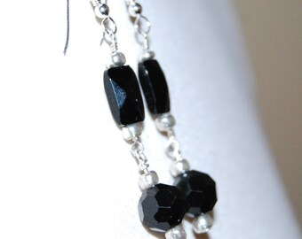 Black Glass Bead And Silver Earrings