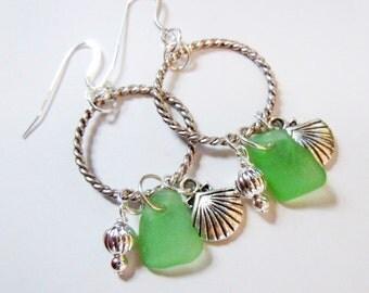 Eco Friendly Green Sea Glass Earrings  Beach Glass Pendant  Necklace Jewelry