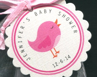 Personalized Baby Girl Baby Shower Favor Tags, Pink Bird, Set of 125 Round Scallop Tags