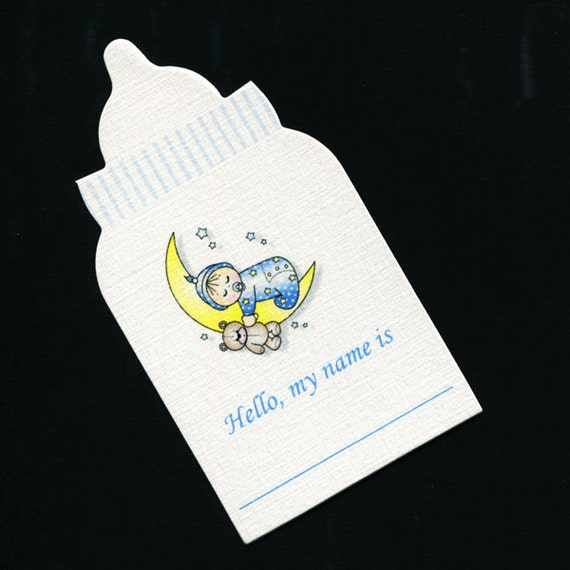 baby shower name tags baby bottle shape baby boy sleeping on the