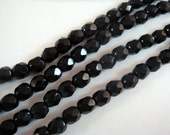 50 Black Czech Glass Bead 4mm Fire Polished Faceted Opaque Black - 50 pc - G6038-BK50
