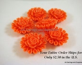 6 Orange Resin Cabochon Beads Flower Bead 13mm - No Holes - 6 pc - CA2012-O6