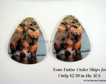 2 Grizzly Bear Guitar Pick Single Sided - Fishing - 2 pc - 6156 - Buy 5 designs, get 1 Free
