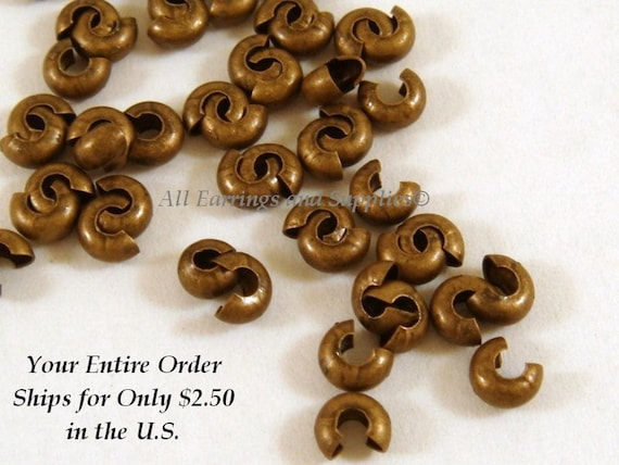 50 Bronze Crimp Cover Beads Cover 3mm Antique Plated Brass - 50 pc - 5296
