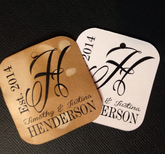Monogram 100 Tags Personalize with Names and year