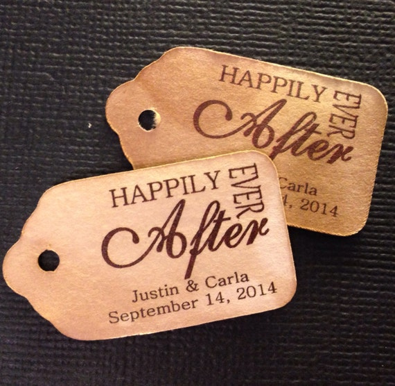 Happily Ever After 100 Extra SMALL 7/8 x 1 5/8 Wedding Favor Tag