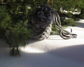 Grey Stone Dragon Scale Crocheted Drawstring Purse