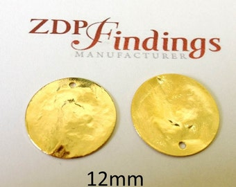 10pcs Discs 12mm Brushed Hammered Gold plated Charms with Hole (9122HBGP)