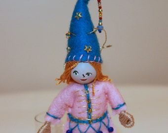 Boy with Blue pointy hat  Hanging Ornament  Felt Art Dolls and Miniatures  Easter Decorations