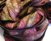 Raspberry Jewel  - Hand Painted Artist Dyed Silk Batik Ribbon Strings - OOAK  - FireandFibers Beads