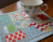 Handmade Quilted Table Mat Mini Quilt Table Topper Large Mug Rug Red Chevron Dachshund Doxie Applique