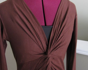 Chocolate brown long sleeve twisted dress-Sizes S, M