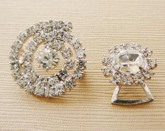 Vintage .. Rhinestone Half Buckles, Swirl Oval Clear Link Silver Tone, Ice Vintage Wedding Bridal