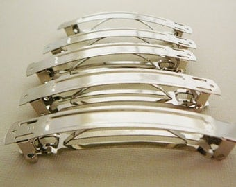 Hair Barrette blanks, 85mm made in France, 5 Silvertone, Solid Top, Bridal hair accessories