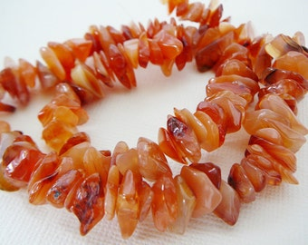 Gemstone Beads, Chips Nuggets Carnelian Orange Beige rust