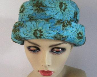 tapestry hat  . 60s Tapestry Hat . Tapestry  Hat  . floral Turquoise hat