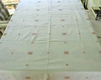 Embroidered Damask Tablecloth . Cross Stitch Roses Tablecloth . German pink rose tablecloth . hand embroidered tablecloth