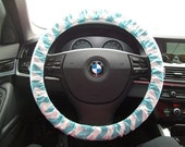 Aqua Chevron Steering Wheel Cover