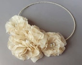 Fae Champagne Silk Flower Halo - Cyber Monday Sale