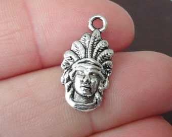 10 Indian Chief Charms 10x20x2mm ITEM:AF21