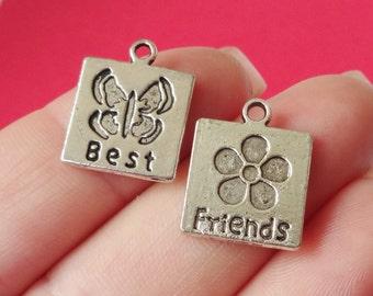 """10 Charms (5) """"Best"""" Butterfly (5) """"Friends"""" Flower  14x17.2x1.2mm"""