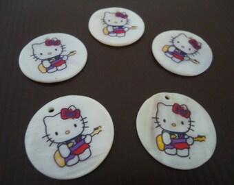 Cat Pendants, Round Disc Chunky Pendants, Shell, 30mm - 4x