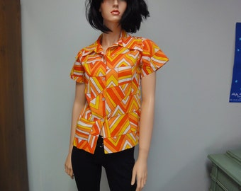 Vintage 70s Art Deco Blouse Pointed Collar, Wild Tangerine, Super Geometric