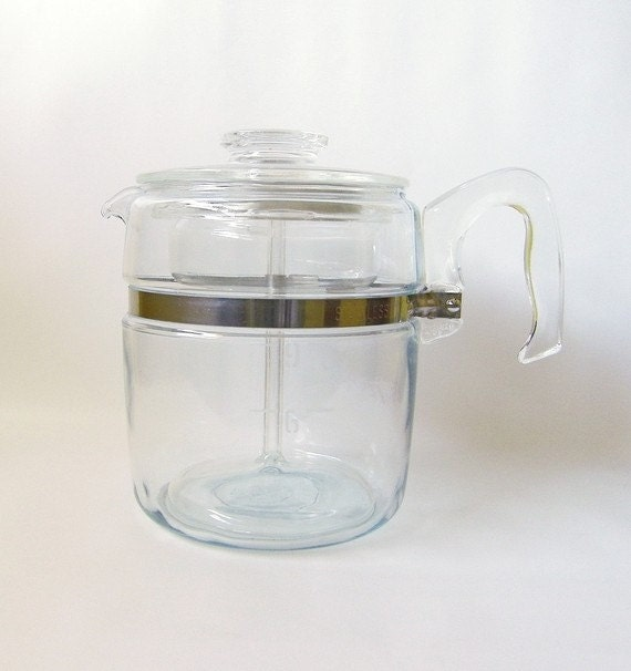 Pyrex Coffee Maker How To Use : Vintage Pyrex Coffee Pot 9 cup Blue Flameware by RetroClassics