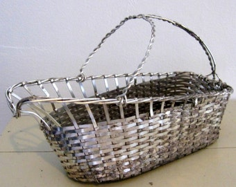 French Wine Basket Wire Gathering Table Caddy