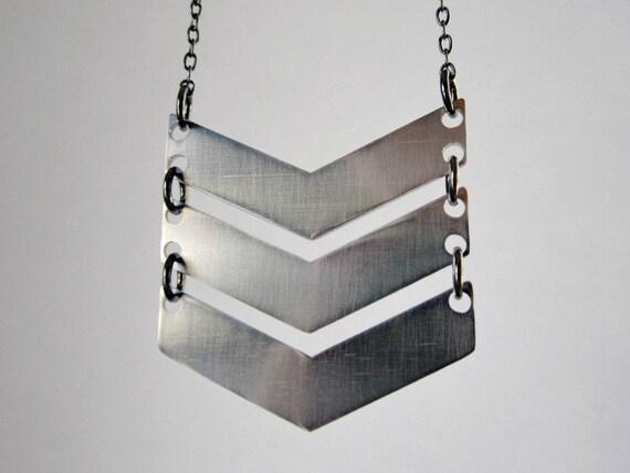 Chevron necklace - tribal jewelry - triple chevron jewelry - mixed metals - everyday jewelry