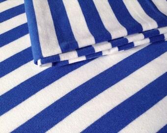 3792 -  Blue Stripe Cotton Jersey Knit Fabric - 70 Inch (Width) x 1/2 Yard (Length)