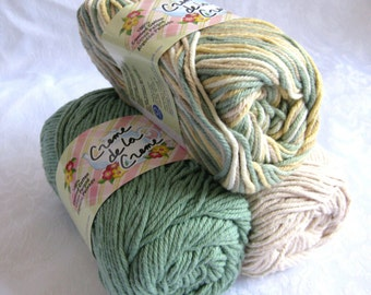 100% cotton yarn, Creme de la Creme yarn, DESERT SAND color story,  spruce green, cream tan gold