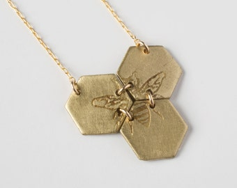 Etched Bee Necklace - Bee Pendant - Hexagon Necklace - Geometric Jewelry - Honeycomb Necklace - Bee Jewelry