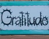 Gratitude Hand-painted Wood Sign Beach Style Aqua