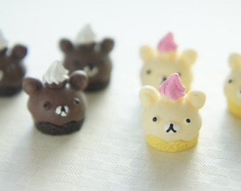 Limited Stock- 2 pcs Bear Cupcake Cabochon (15mm) CD483 (((LAST/no restock)))