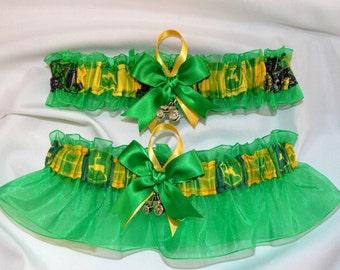Wedding Garter Set Handmade with John Deere fabric ( Green )