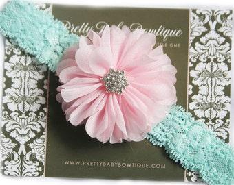 Pink and Aqua Lace Baby Headband..Newborn Headband.. Pink and Mint Headband..Infant Headband....Baby Headbands