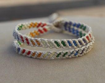 Hemp Macrame and Rainbow Glass Chevron Double Cuff Bracelet - Natural Hippie LGBT